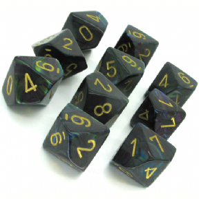 Shadow & Gold Lustrous D10 Ten Sided Dice Set